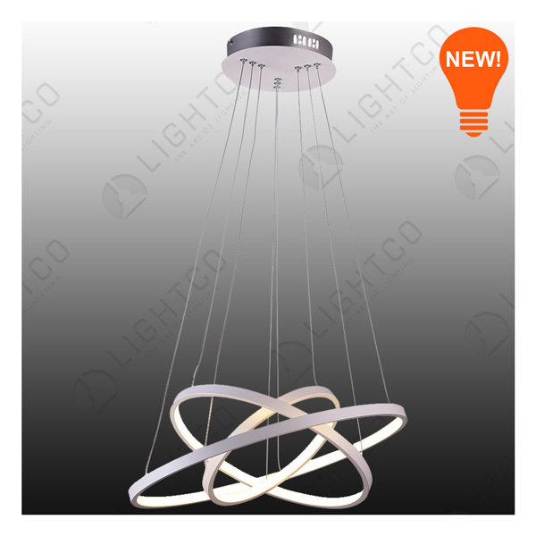 PENDANT LED TRIPLE RING WHITE 2800LUMENS