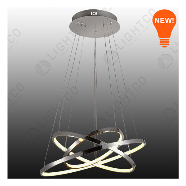 PENDANT LED TRIPLE RING CHROME 2800LUMENS
