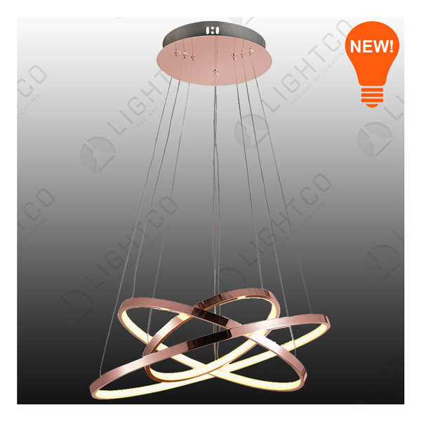 PENDANT LED TRIPLE RING ROSE GOLD 2800LUMENS