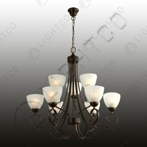 CHANDELIER 9 LIGHT WITH GLASSES