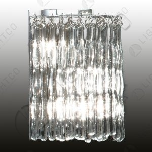WALL LIGHT GLASS DROPS SATIN CHROME BASE