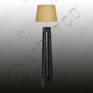 FLOOR LAMP WOOD SQUARE AND SHADE