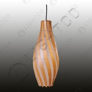 PENDANT WITH PLYWOOD SWIRL SHADE