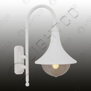 LANTERN WITH CURVED ARM AND BELL SHADE