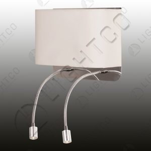 WALL LIGHT WITH SINGLE SHADE & 2 LED FLEXI ARMS