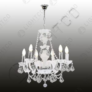 CHANDELIER 6 LIGHT ACRYLIC CRYSTAL