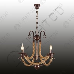 CHANDELIER 3 LIGHT WROUGHT IRON WITH ROPE