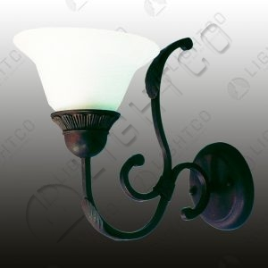 WALL LIGHT SINGLE ARM WROUGHT IRON ALABASTER GLASS