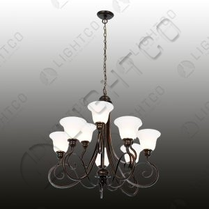 CHANDEIER 9 LIGHT WITH GLASSES