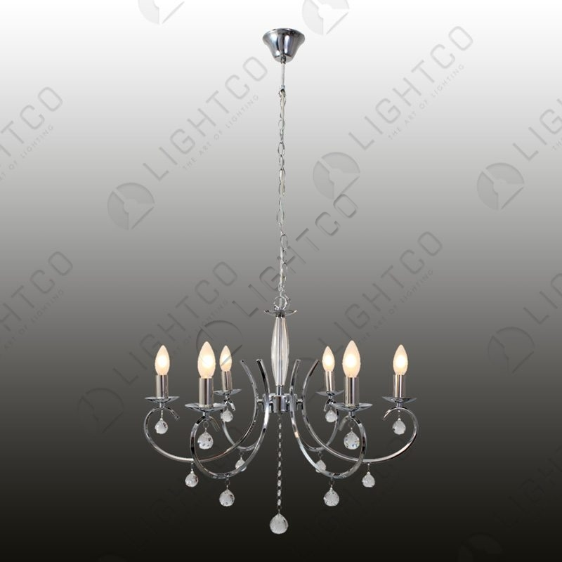 CHANDELIER 6 LIGHT CHROME AND CRYSTAL