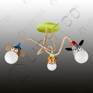 CEILING LIGHT WITH 3 ZOO ANIMALS ON ARMS
