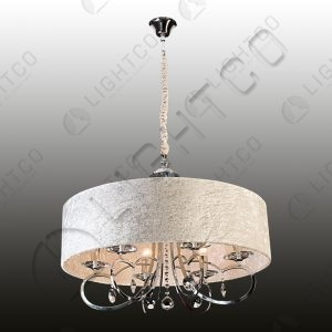 CHANDELIER IN CRUSHED VELVET SHADE & CRYSTALS