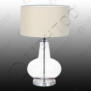 TABLE LAMP WITH ROUND GLASS BASE AND CREAM SHADE