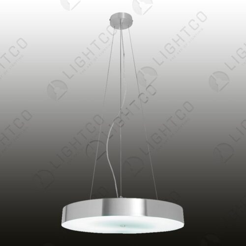 PENDANT ALUMINIUM FLAT ROUND WITH GLASS BASE