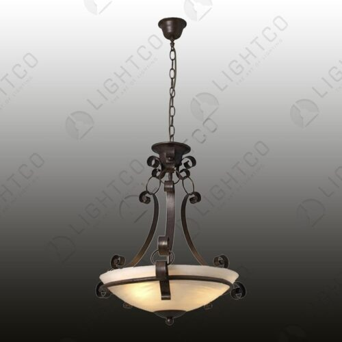 PENDANT WROUGHT IRON UP FACING GLASS BOWL
