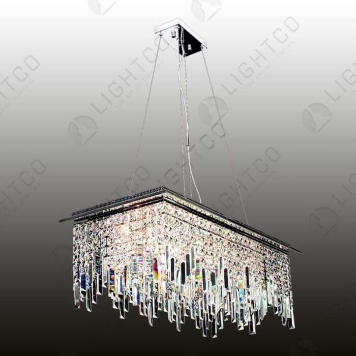 PENDANT RECTANGULAR CRYSTAL SATIN CHROME DBL ROW