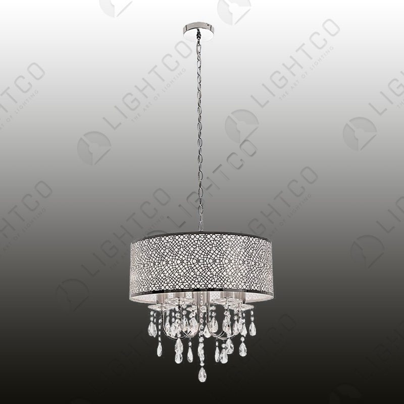PENDANT ROUND SHADE AND CHROME CHANDELIER