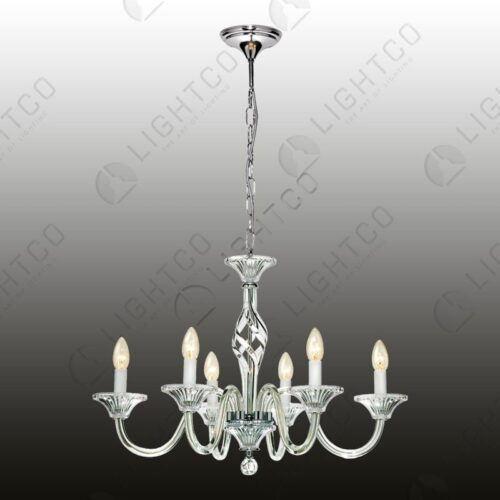 CHANDELIER GLASS 6 LIGHT