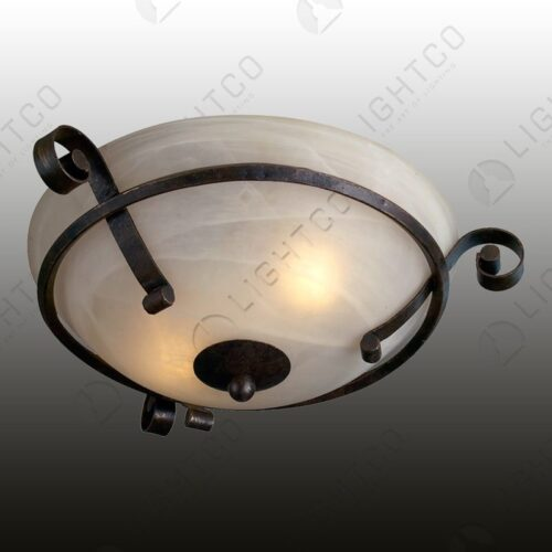 CEILING LIGHT WITH WROUGHT IRON CURLS