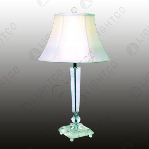 TABLE LAMP CRYSTAL BASE WITH WHITE SHADE