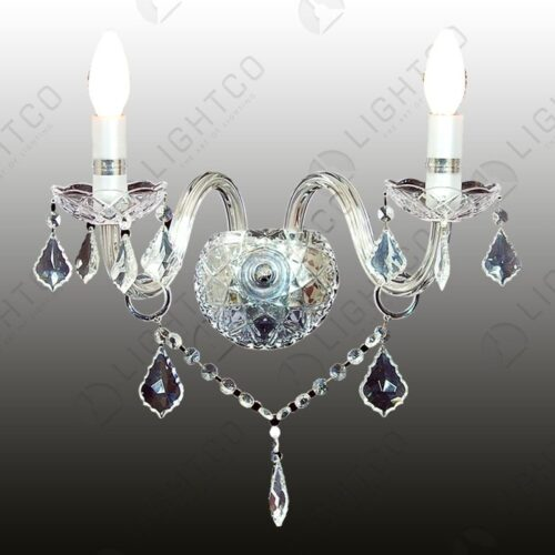 WALL LIGHT DOUBLE ARM WITH CRYSTALS
