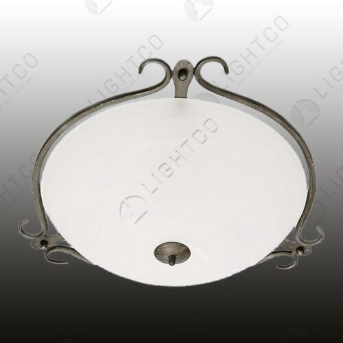 CEILING LIGHT WROUGHT IRON CURLED RIM