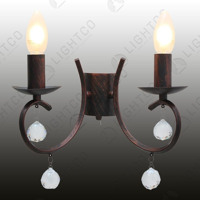 WALL LIGHT DOUBLE ARM AND CRYSTAL