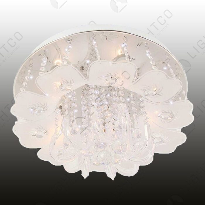 CEILING FITTING WITH CURVED GLASS AND CRYSTALS
