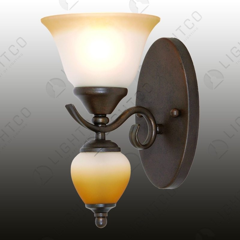WALL LIGHT SINGLE ARM WROUGHT IRON AND GLASS