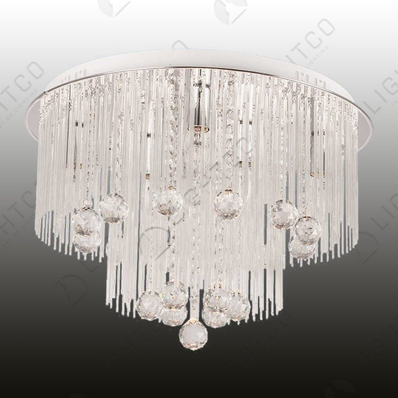 CEILING LIGHT GLASS + CRYSTALS WITH DUAL SWITCH CONTROL