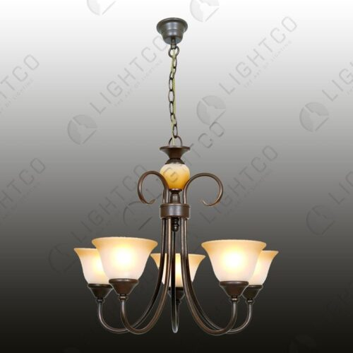 CHANDELIER WROUGHT IRON 5 LIGHT