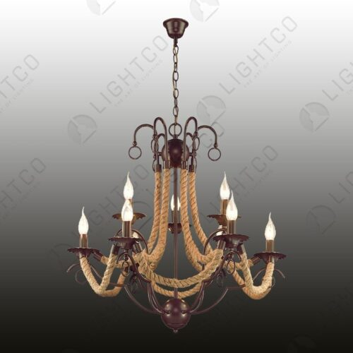 CHANDELIER 9 LIGHT WROUGHT IRON WITH ROPE
