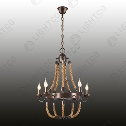 CHANDELIER 5 LIGHT WROUGHT IRON WITH ROPE DETAIL