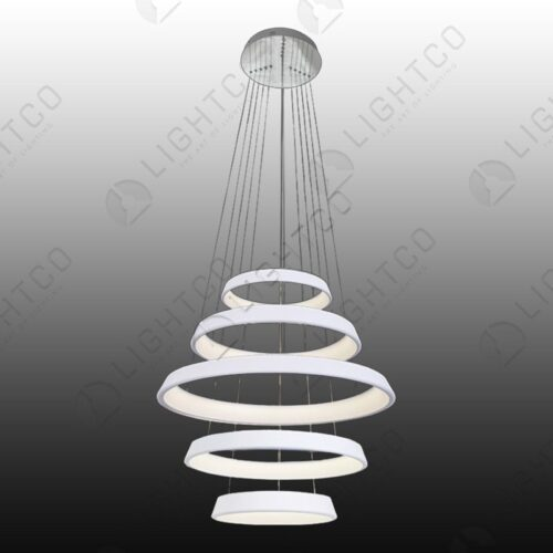 PENDANT 5 TIER LED RINGS WHITE