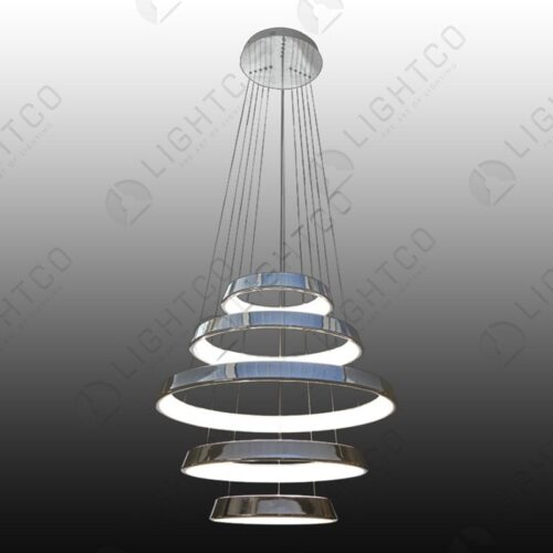 PENDANT 5 TIER LED RINGS CHROME