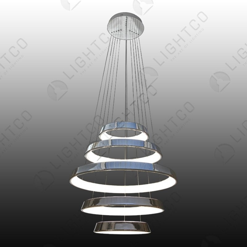 PENDANT 5 TIER LED RINGS CHROME
