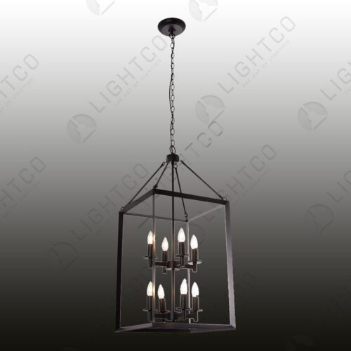 PENDANT RECTANGULAR 8 LIGHT WITH NO GLASS