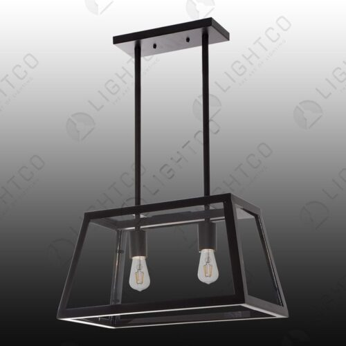 PENDANT RUSTIC 2 LIGHT RECTANGULAR FIXED ROD