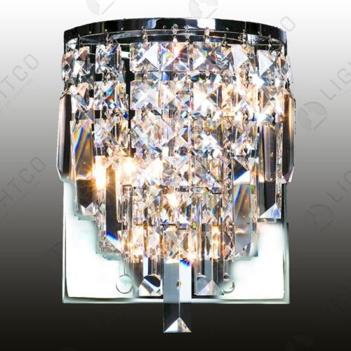 WALL LIGHT V-SHAPE CRYSTAL CHROME BASE