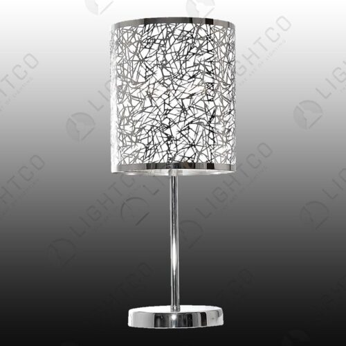 TABLE LAMP SILVER PATTERNED SHADE