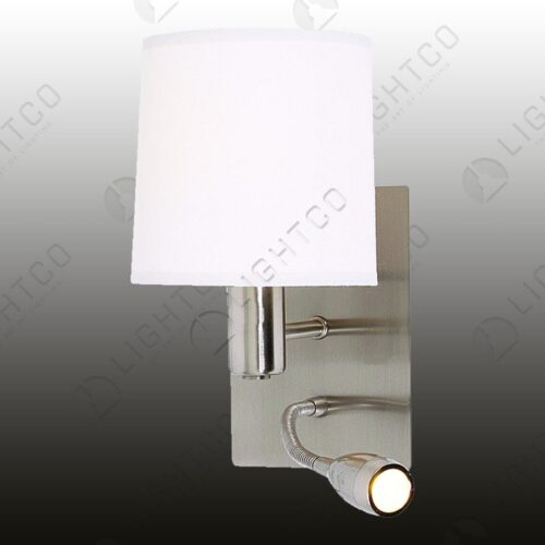 WALL LIGHT SINGLE + WHITE SHADE + LED SPOT