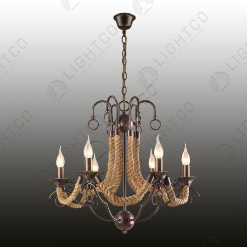CHANDELIER 6 LIGHT WROUGHT IRON WITH ROPE