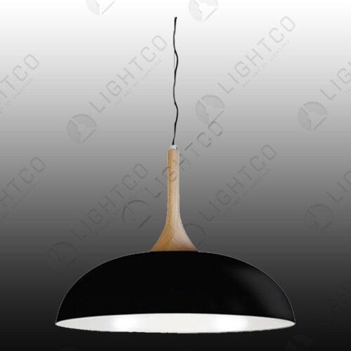 PENDANT WIDE METAL DOME WITH WOOD DETAIL