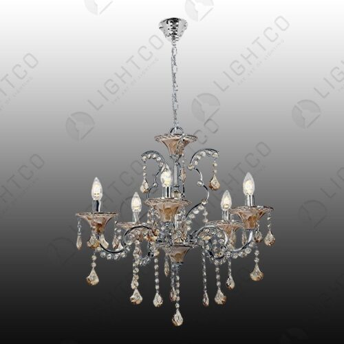 CHANDELIER 5 LIGHT WITH ACRYLIC CRYSTALS
