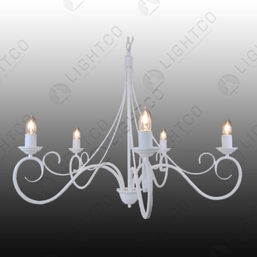 CHANDELIER 5 LIGHT WROUGHT IRON