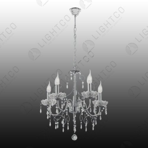 CHANDELIER 5 LIGHT CHROME AND CRYSTAL