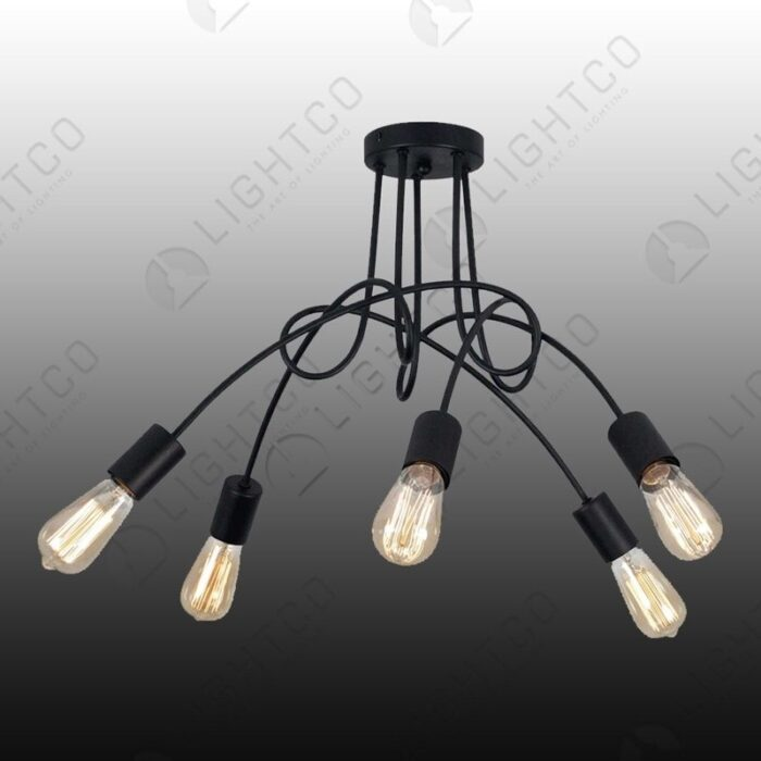 CEILING LIGHT WITH 5 INTERTWINED ARMS