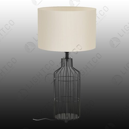 TABLE LAMP IN WIRE WITH FABRIC SHADE