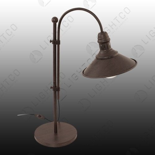 TABLE LAMP CURVED RUSTIC WITH THRU SWITCH