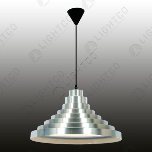 PENDANT METAL SHADE WITH RIBBED RINGS